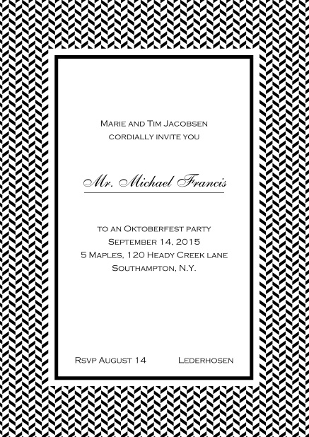 Classic online high invitation card with thin waves frame and editable text. Black.