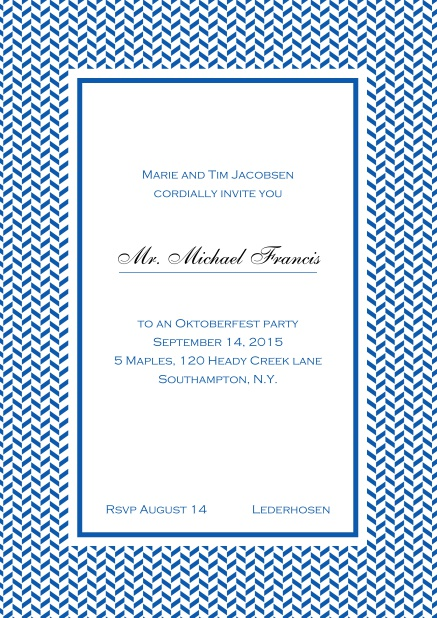 Classic online high invitation card with thin waves frame and editable text. Blue.