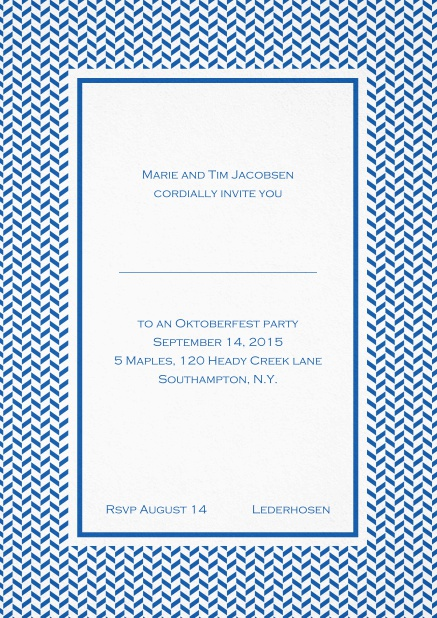 Classic high invitation card with thin waves frame and editable text. Blue.