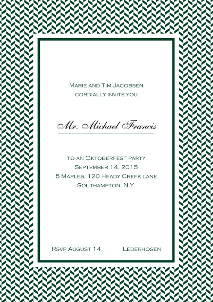 Classic online high invitation card with thin waves frame and editable text. Green.