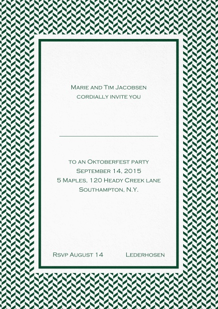Classic high invitation card with thin waves frame and editable text. Green.