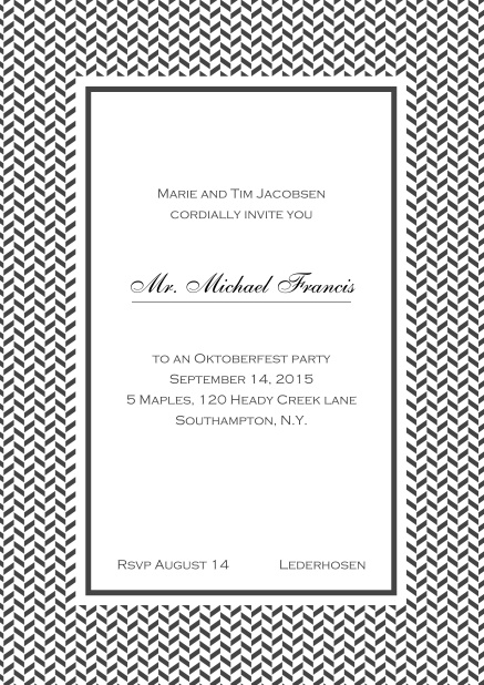 Classic online high invitation card with thin waves frame and editable text. Grey.