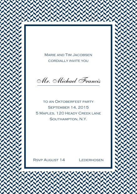 Classic online high invitation card with thin waves frame and editable text. Navy.