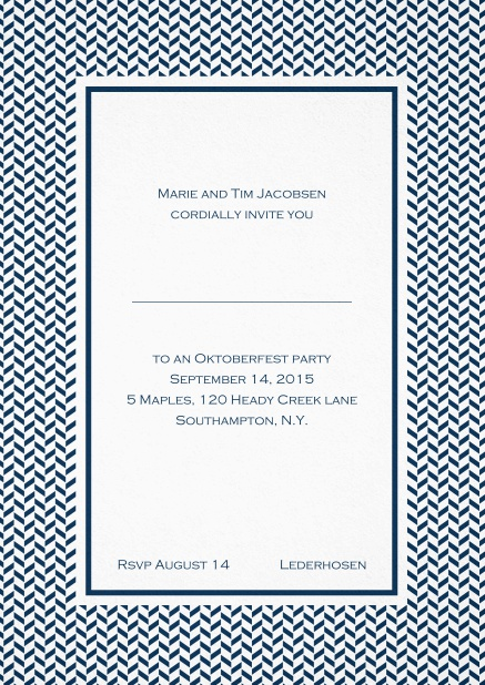 Classic high invitation card with thin waves frame and editable text. Navy.