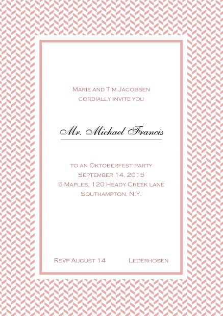 Classic online high invitation card with thin waves frame and editable text. Pink.