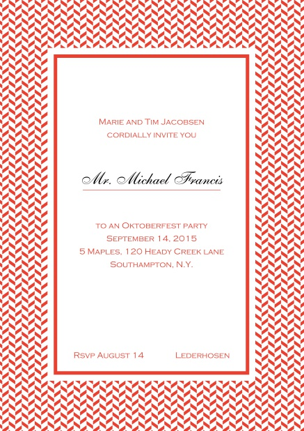 Classic online high invitation card with thin waves frame and editable text. Red.