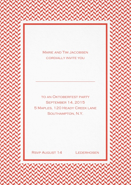 Classic high invitation card with thin waves frame and editable text. Red.
