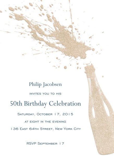 Birthday invitation card online with champagne bottle with a splash.