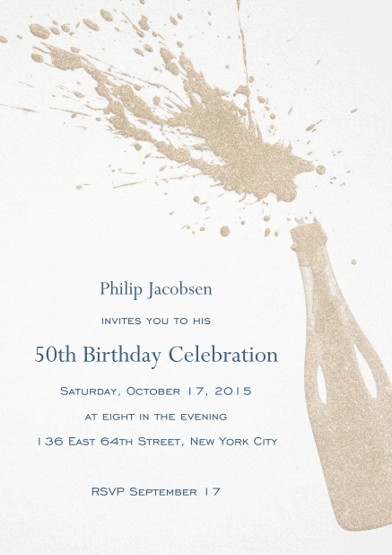 Birthday invitation card with champagne bottle with a splash.