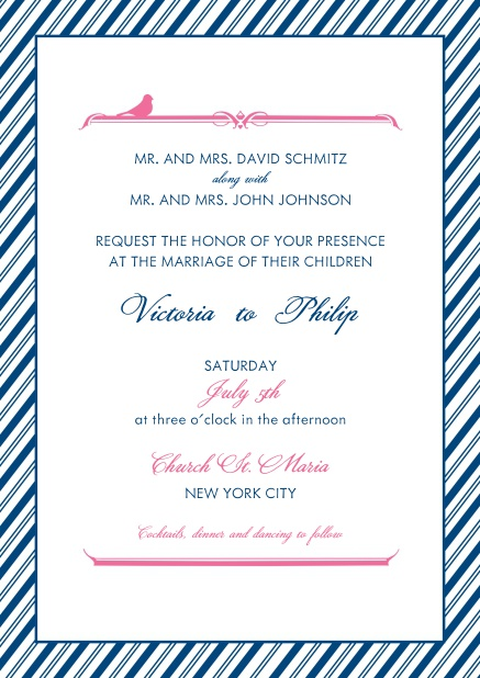 Online wedding invitation card with light and dark blue striped frame.