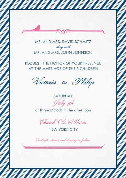 Wedding invitation card with light and dark blue striped frame.
