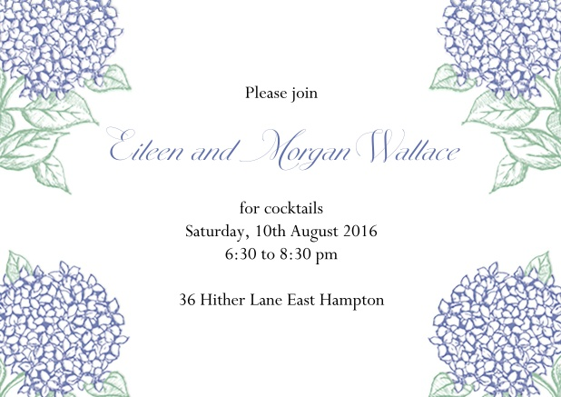 Online Summer cocktail invitation card with charming blue flowers.