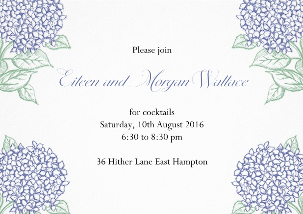 Summer cocktail invitation card with charming blue flowers.