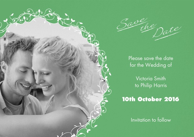 Green wedding save the date card with photo