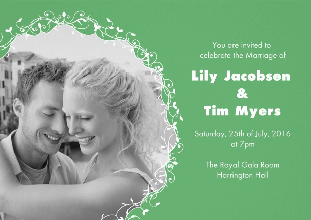 Enjoy this green Wedding invitation card with round photo.