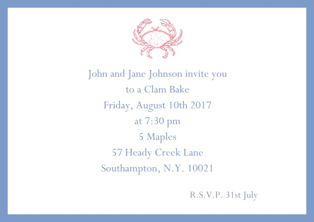 Online Invitation cad with Crab perfect for summer fun, clam bakes, crab cakes and more Blue.