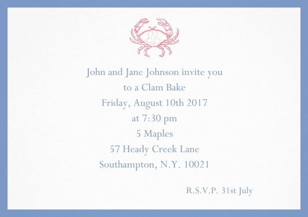 Invitation cad with Crab perfect for summer fun, clam bakes, crab cakes and more Blue.