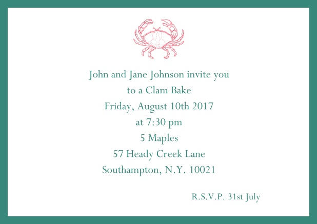 Online Invitation cad with Crab perfect for summer fun, clam bakes, crab cakes and more Green.
