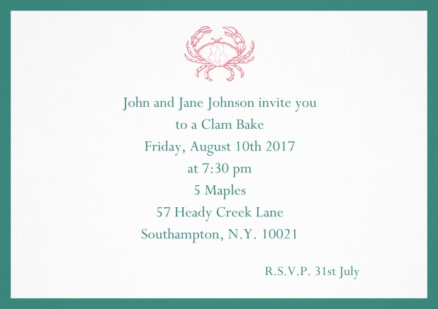 Invitation cad with Crab perfect for summer fun, clam bakes, crab cakes and more Green.