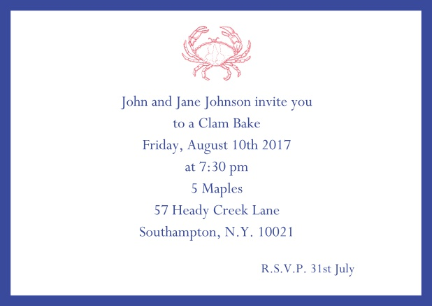 Online Invitation cad with Crab perfect for summer fun, clam bakes, crab cakes and more Navy.