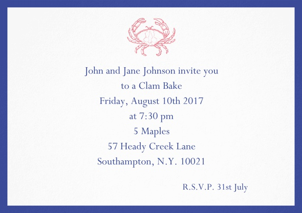 Invitation cad with Crab perfect for summer fun, clam bakes, crab cakes and more Navy.