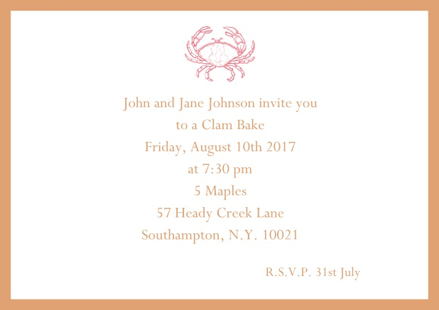 Online Invitation cad with Crab perfect for summer fun, clam bakes, crab cakes and more Orange.