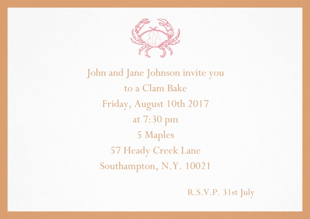 Invitation cad with Crab perfect for summer fun, clam bakes, crab cakes and more Orange.