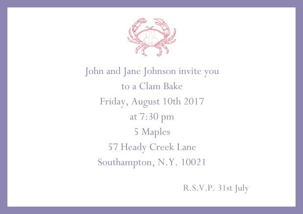 Online Invitation cad with Crab perfect for summer fun, clam bakes, crab cakes and more Purple.