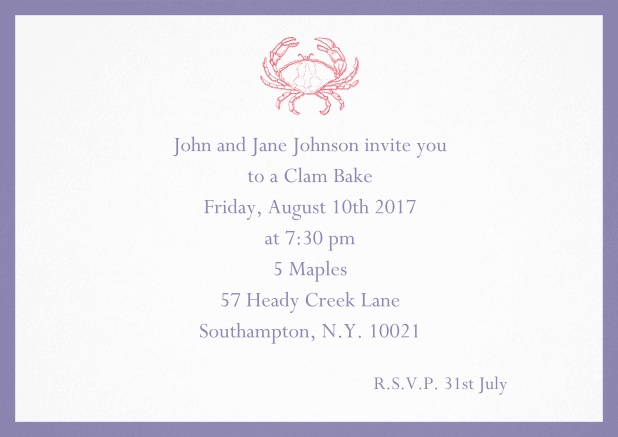 Invitation cad with Crab perfect for summer fun, clam bakes, crab cakes and more Purple.