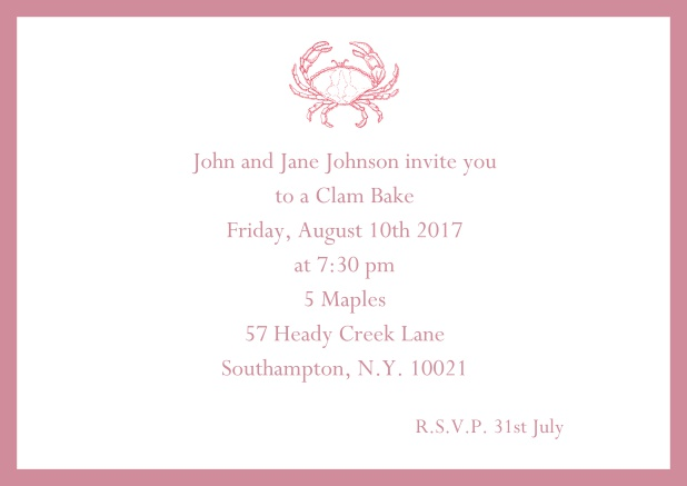 Online Invitation cad with Crab perfect for summer fun, clam bakes, crab cakes and more Red.
