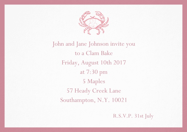 Invitation cad with Crab perfect for summer fun, clam bakes, crab cakes and more Red.