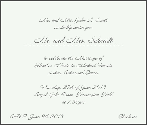 Beige, classic Wedding Invitation with red border. Black.