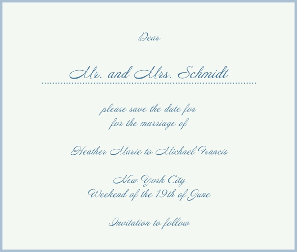 White Classic Wedding Save the Date Card with red border. Blue.
