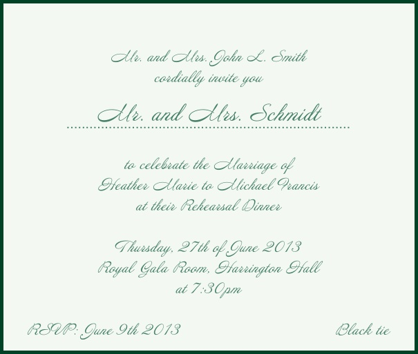 Beige, classic Wedding Invitation with red border. Green.