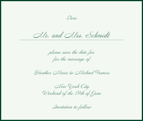 White Classic Wedding Save the Date Card with red border. Green.