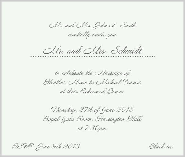 Beige, classic Wedding Invitation with red border. Grey.