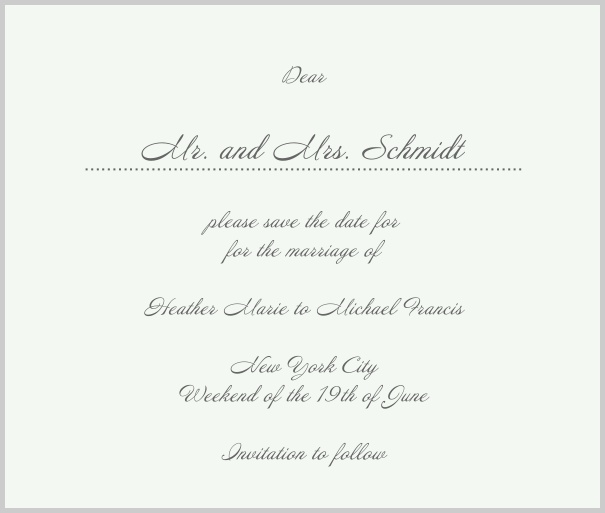 White Classic Wedding Save the Date Card with red border. Grey.
