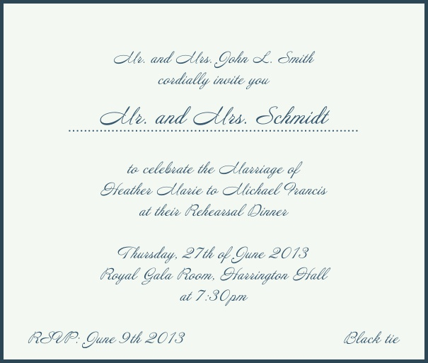 Beige, classic Wedding Invitation with red border. Navy.