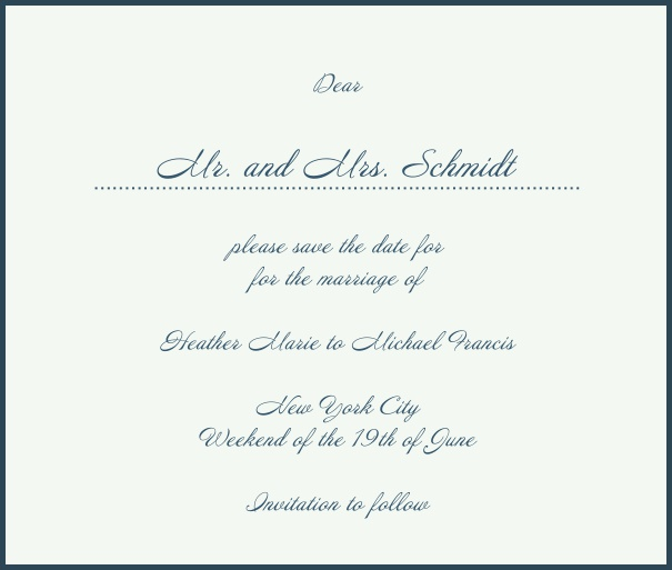 White Classic Wedding Save the Date Card with red border. Navy.