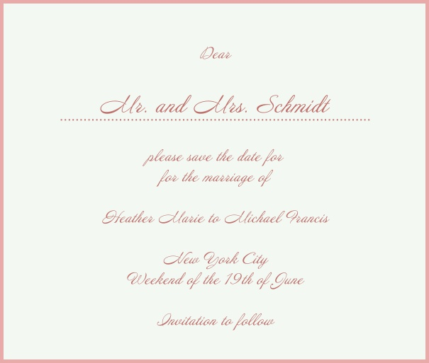 White Classic Wedding Save the Date Card with red border. Pink.