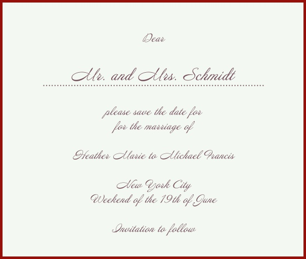 White Classic Wedding Save the Date Card with red border. Red.