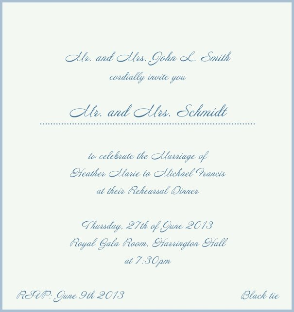 Beige, classic Wedding Invitation with red border. Blue.