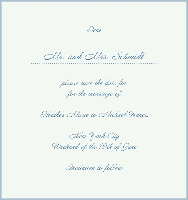 White Classic Wedding Save the Date Card in high format with red border. Blue.