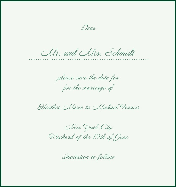 White Classic Wedding Save the Date Card in high format with red border. Green.