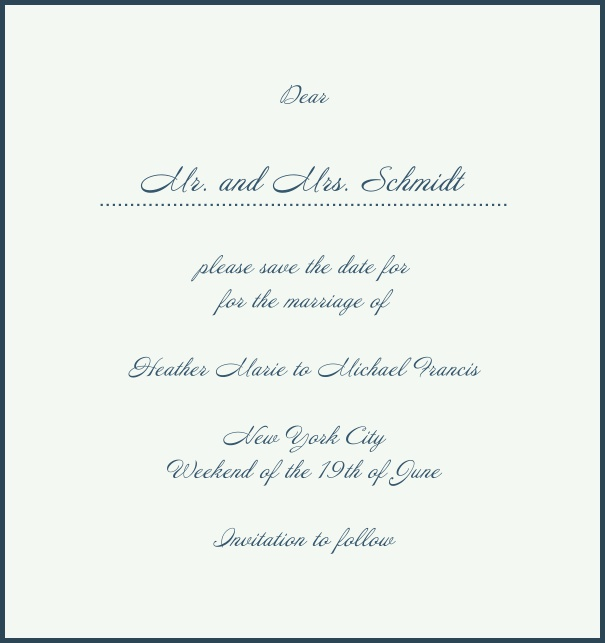White Classic Wedding Save the Date Card in high format with red border. Navy.