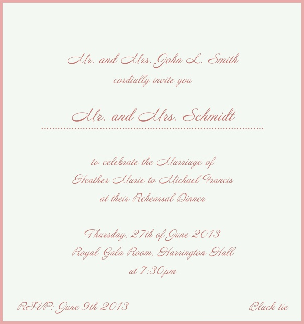 Beige, classic Wedding Invitation with red border. Pink.
