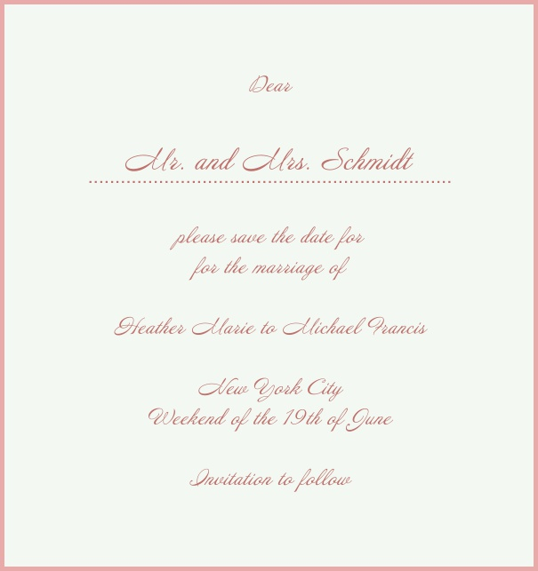White Classic Wedding Save the Date Card in high format with red border. Pink.