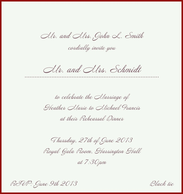 Beige, classic Wedding Invitation with red border. Red.