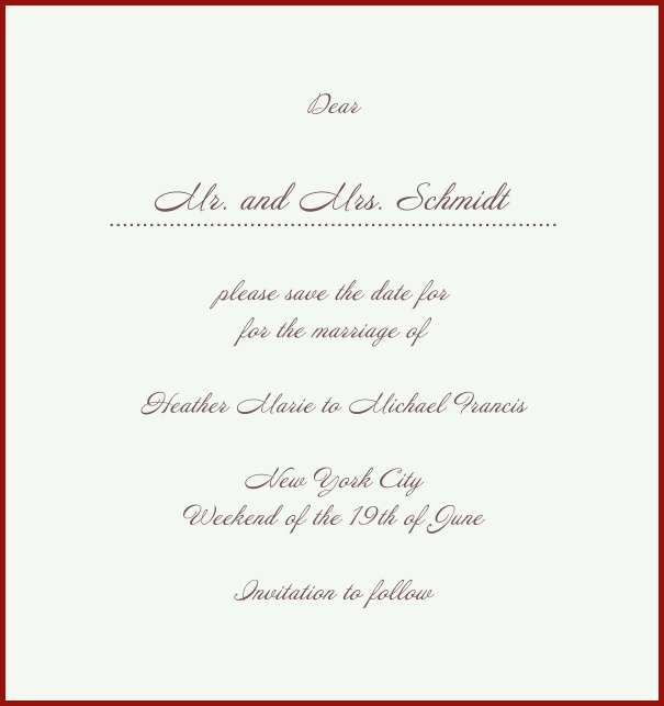White Classic Wedding Save the Date Card in high format with red border. Red.