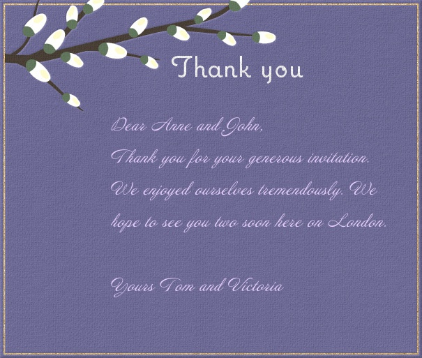 Blue Thank You Card with Spring Branch.